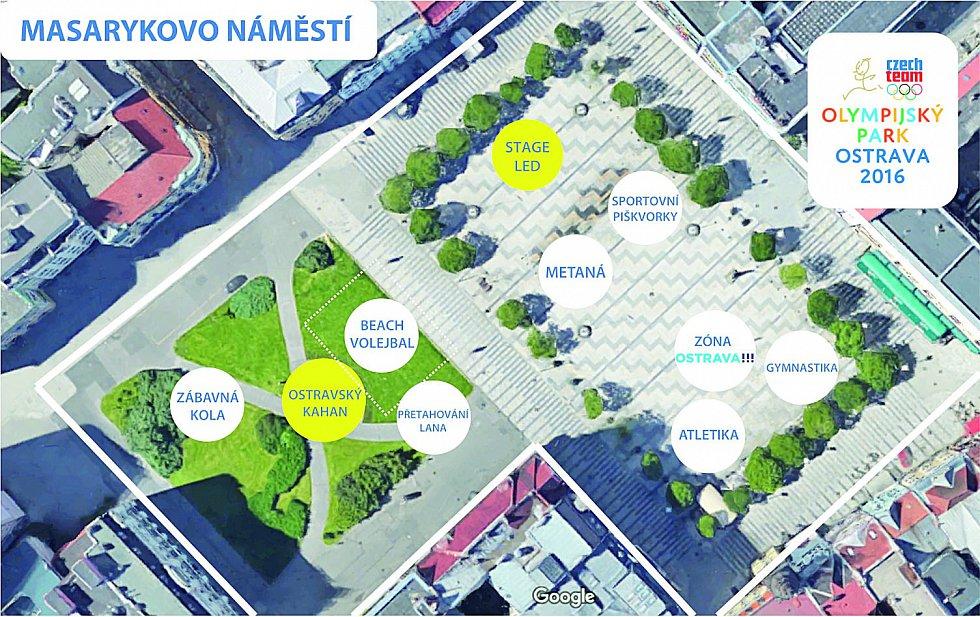 Olympijský park v Ostravě bude na Masarykově náměstí, Výstavišti a u loděnice na soutoku Ostravice a Lučiny