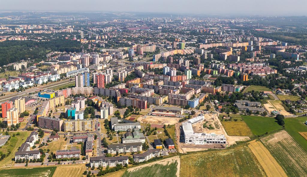 Letecký snímek Ostravy-Jihu