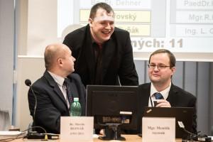 Starosta Ostravy-Jihu Martin Bednář a jeho nejbližší spolupracovníci - radní Adam Rykala a tajemník úřadu Petr Mentlík