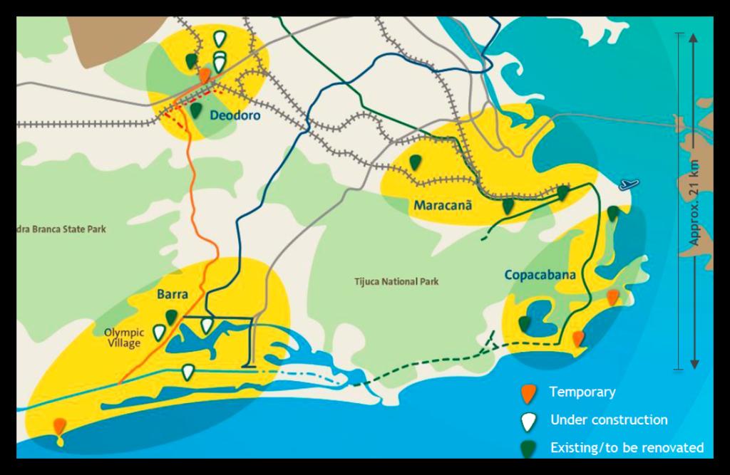 Mapa sportovišť v Rio de Janeiru